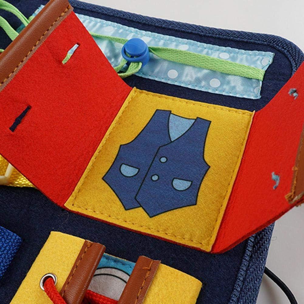 Kn/öpfen Lernspielzeug f/ür 18 Monaten bis 6 Jahren Kinder Besch/äftigtes Brett f/ür Kleinkinder Montessori-Aktivit/ätsbrett f/ür Feinmotorik und Lernen Lernboard mit Rei/ßverschl/üssen Schnallen