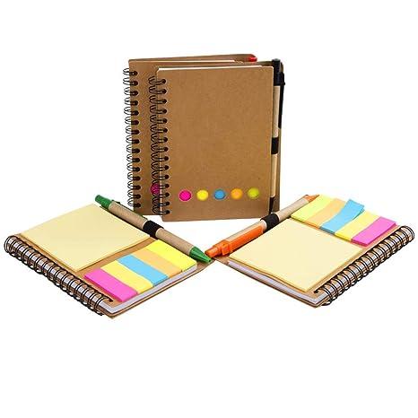 4 Paquete Libreta de espiral Kraft Papel Bloc de notas Diario con Pluma en Titular &