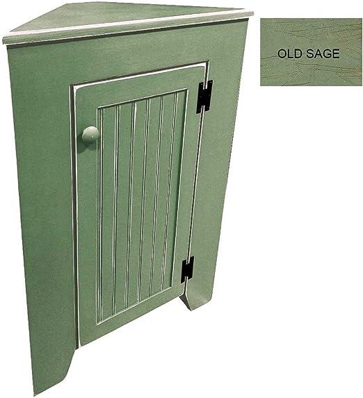 Amazon Com Corner Cabinet With Door Old Sage Home Kitchen