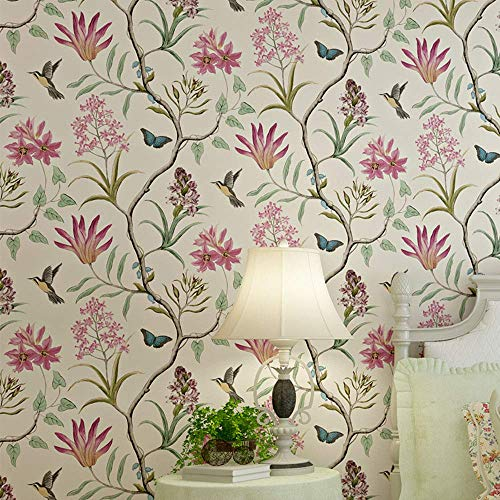 TaoGift Peel and Stick Vintage Floral Wallpaper Self Adhesive Non-Woven Butterfly Birds Flower Contact Paper Kitchen Bathroom Backsplash Wall Paper Mural Sticker (Beige, 20.86inx16ft) ()