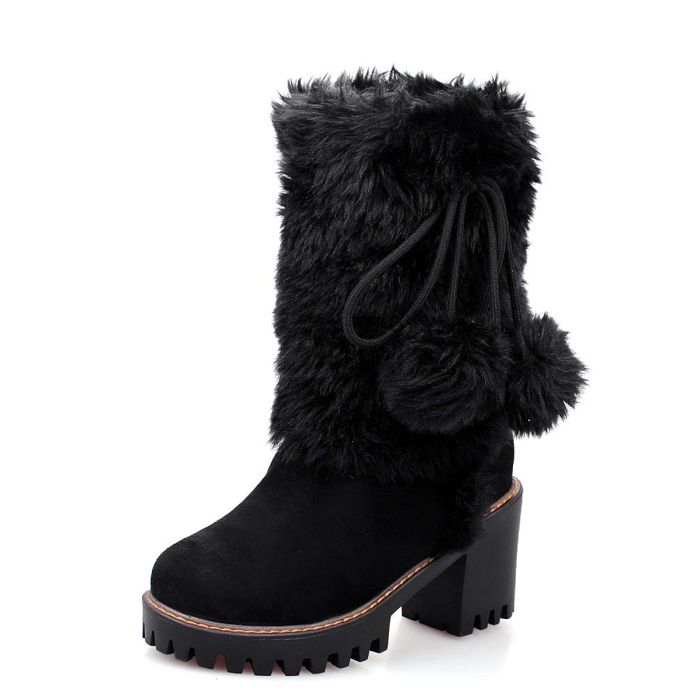 QINGMM Frauen Plüsch Schnee Stiefel Stiefel Stiefel 2018 Herbst Winter Plattform High Heel Wildleder Baumwolle Stiefel Große Größe Schwarz 42 EU 5eecac