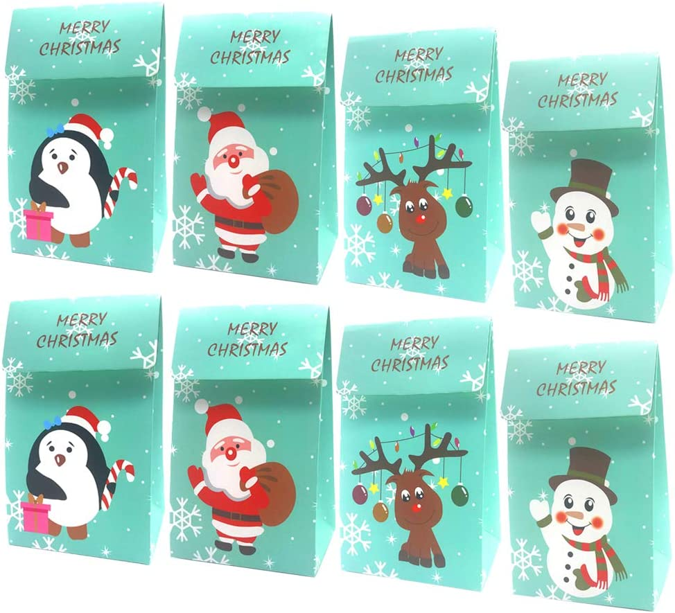 10-20X Christmas Xmas Gift Bags Candy Boxes Package Paper Gift Pack Box #M2R