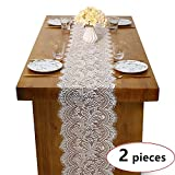 B-COOL Lace Table Runner White Wedding Lace Overlay for Rustic Boho Wedding Reception Table Decor 14'' by 120''-Set of 2pcs