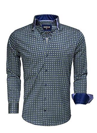 Overhemd Mintgroen.Wam Denim Overhemd Navy Groen Met Bloem Patroon Size L Amazon Co Uk