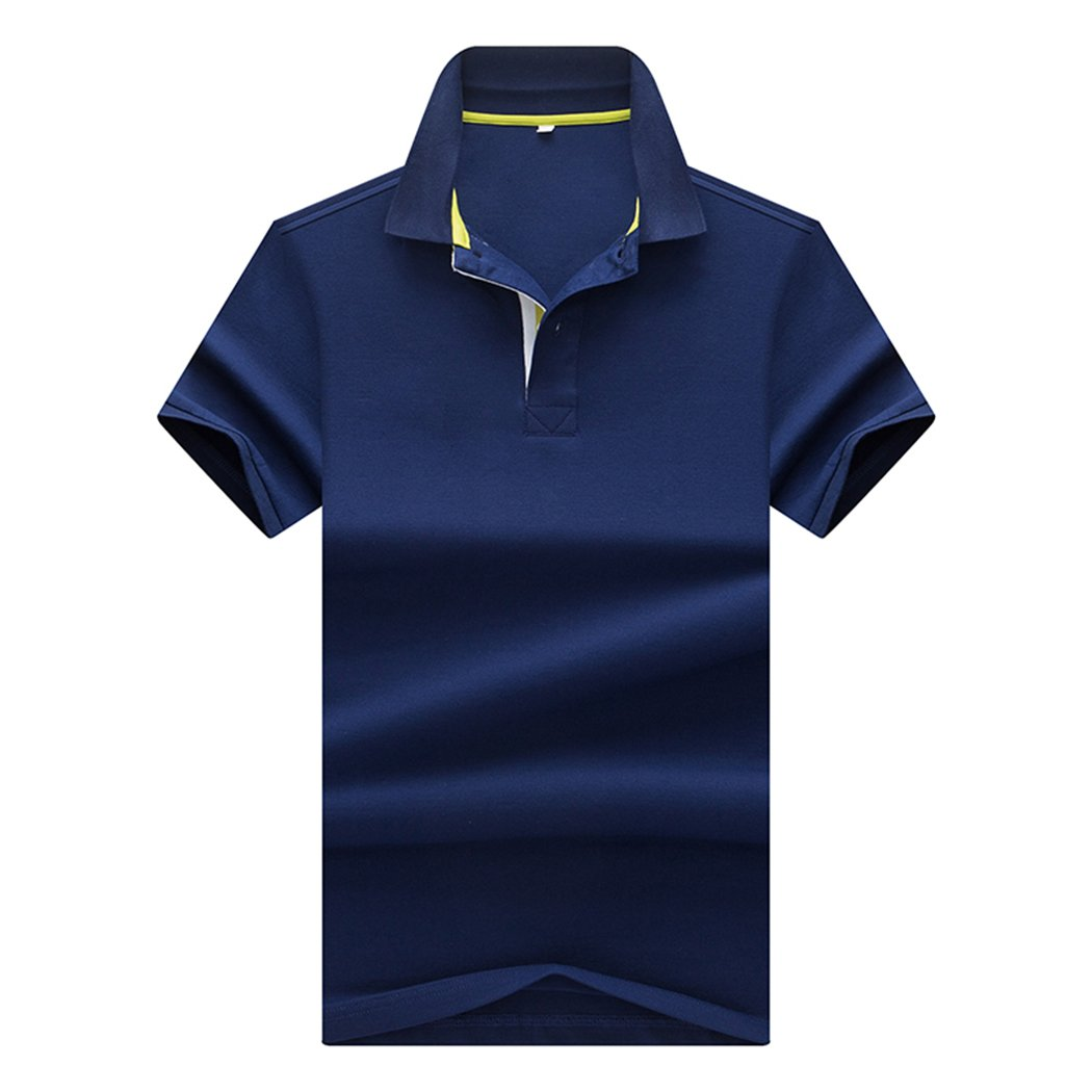 Sun Lorence Big Boy's School Uniform Dry Fit Short Sleeve Collared Solid Polo T-Shirt RoyalBlue M