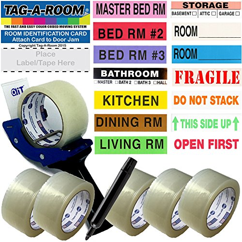 Packing Kit (Tag-A-Room Color Coded Moving Labels (525 Count), Packing Tape (6 Rolls), Tape-Gun, Door ID's, and Marker, Pack N Move Bundle Moving Supplies)