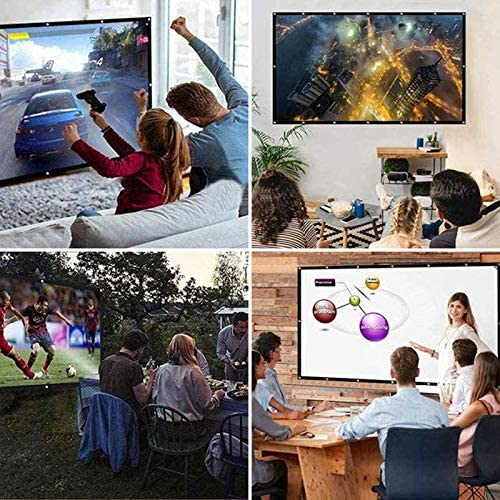 Projector Screen 150 inch 16:9 HD Foldable Anti-Crease Portable Washable Indoor Outdoor Projection Movie Screen Support Double Sided Projection for Home Theater, Education by way of HiTauing
