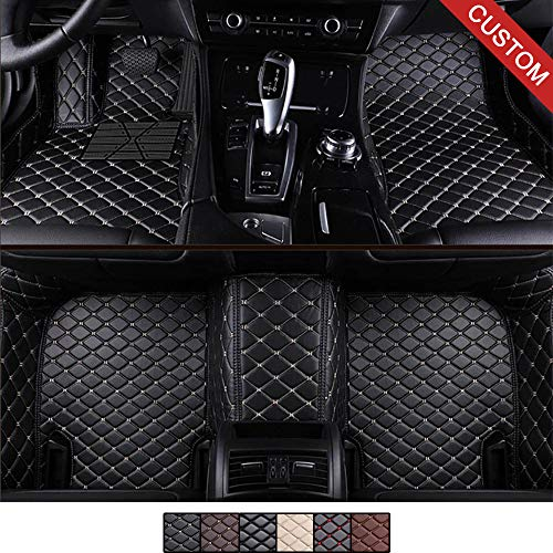 VEVAE Custom Car Floor Mats for Tesla Model S Models Laser Measured Faux Leather, All Weather Full Coverage Waterproof Carpets XPE Car Liner (Black with Beige Stitching) ()
