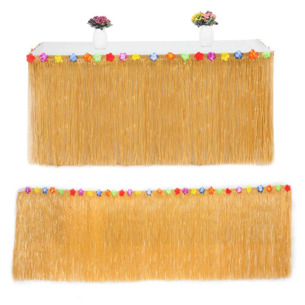 BEST OF BEST 3 Falda de Mesa de Color Amarillo Paja Hawaiana de 9 ...