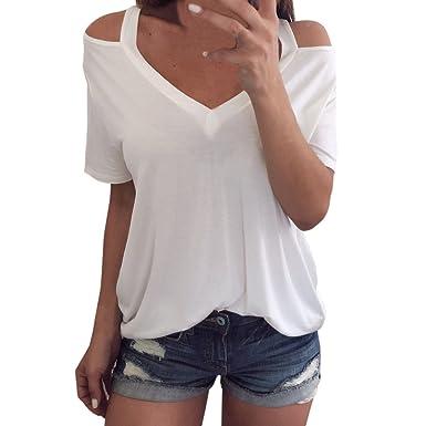Damen Baggy Lose V-Ausschnitt Kurzarmshirt Lässige Kurzarm Top T-Shirts Oberteil
