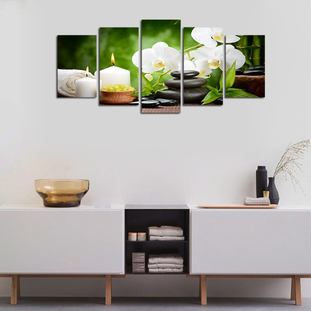 Ardemy Canvas Wall Art Multi Panels 5/Set White Orchid Zen Painting Prints Framed Picture for Living Room Bedroom Spa Salon Dinning Room Bathroom Home Decoration by Ardemy (Image #5)