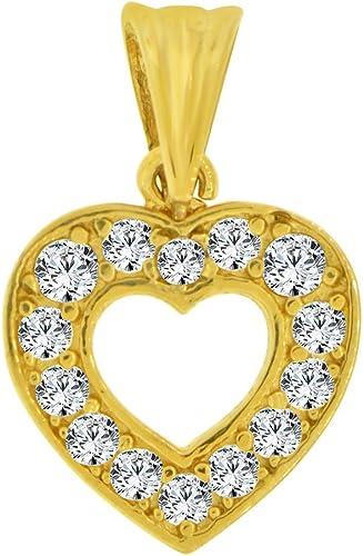 14k Yellow Gold CZ Heart Pendant Charm