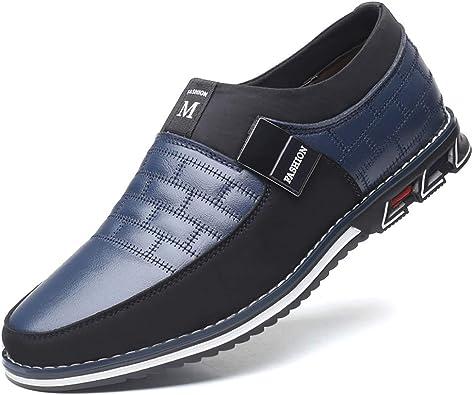 Cosidram Zapatos De Verano Para Hombre Casuales Transpirables Cómodos Cómodos Zapatos De Conducción Zapatos De Piel De Lujo Color Negro Y Azul Para Hombre Negocios Trabajo Oficina Vestido Al Aire
