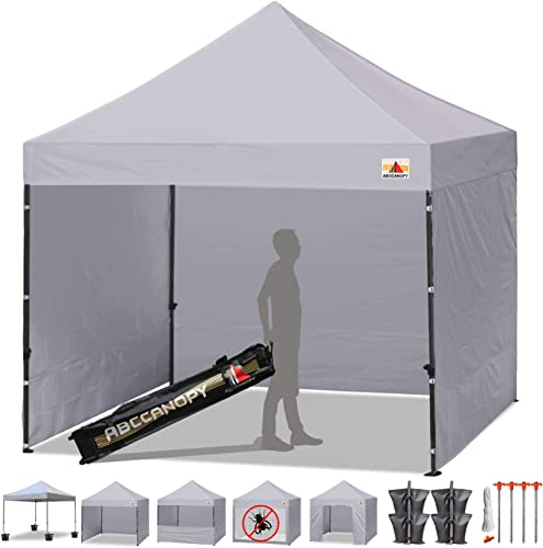 ABCCANOPY Canopy Tent Popup Canopy 10×10 Pop Up Canopies Commercial Tents Market stall with 6 Removable Sidewalls and Roller Bag Bonus 4 Weight Bags and 10ft Screen Netting and Half Wall, Gray