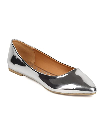 FD76 Women Metallic Leatherette Pointy Toe Ballerina Flat - Silver