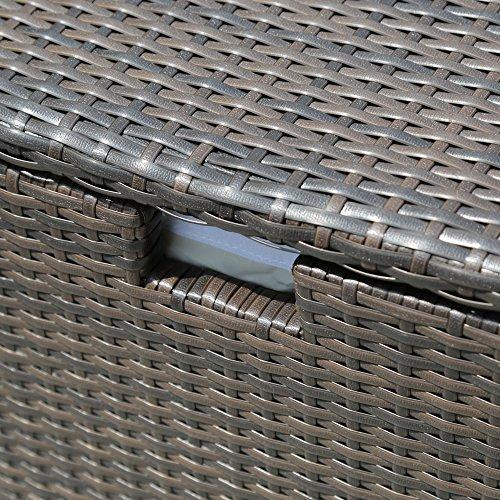 PATIOROMA Outdoor Patio Aluminum Frame Wicker Cushion Storage Bin Deck Box, Espresso Brown by PATIOROMA (Image #3)