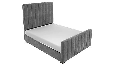 Dhp Dante Upholstered Bed With Luxurious Velvet Upholstered Design, Queen Size   Grey Velvet by Dhp
