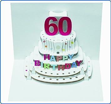 Pop Up 3d Karte Geburtstagskarte 60 Geburtstag Gutschein Torte