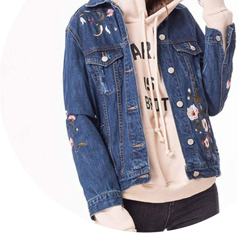 Embroidery Cardigan Denim Jackets Women Slim Bf Spring Autumn Denim Coat,Deep Blue,L
