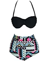 Sanwood High Waist Retro Bikini Carnival Swimsuit Swimwear Set