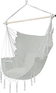 joybest Hammock Chair Hanging Rope Swing Seat Chair with Pocket Max 350 Lbs for Indoor Outdoor Home Bedroom Garden, Seat Cushions Not Included (Light Grey)