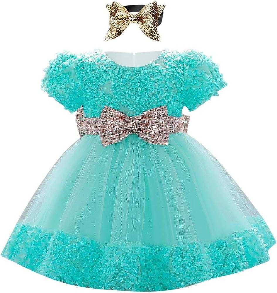 IBAKOM Baby M/ädchen Kleid Kleinkind Mesh Kurzarm Paillette Bowknot Spitze Tutu Prinzessin Kleid Geburtstag Hochzeit Partykleid