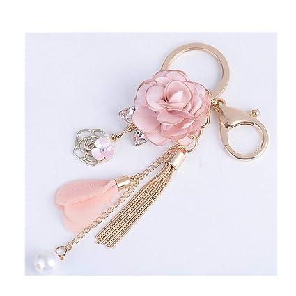 Amazon Com Pink Flower Tassel Cute Cell Phone Car Keychain Pendant