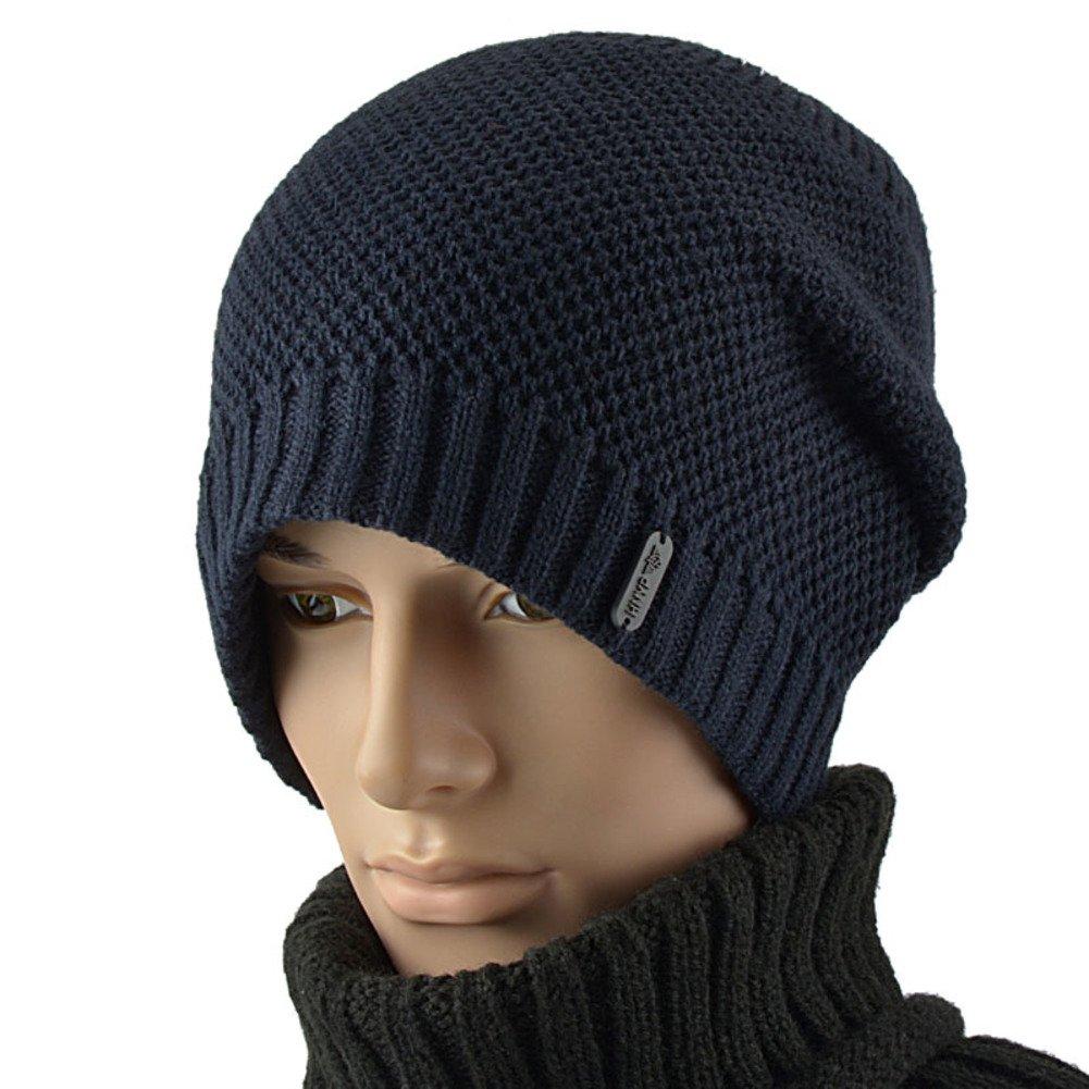PLMWQAVDFN Mens hat Winter Knit Wool Hats Add Cashmere Mens hat Warm Ear Muffs Hat