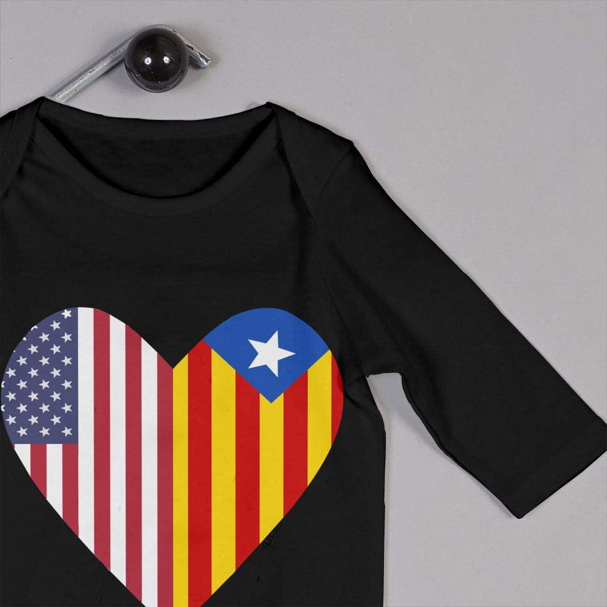 Half Catalonia Flag Half USA Flag Love Heart Printed Baby Bodysuit Long Sleeve Romper Black
