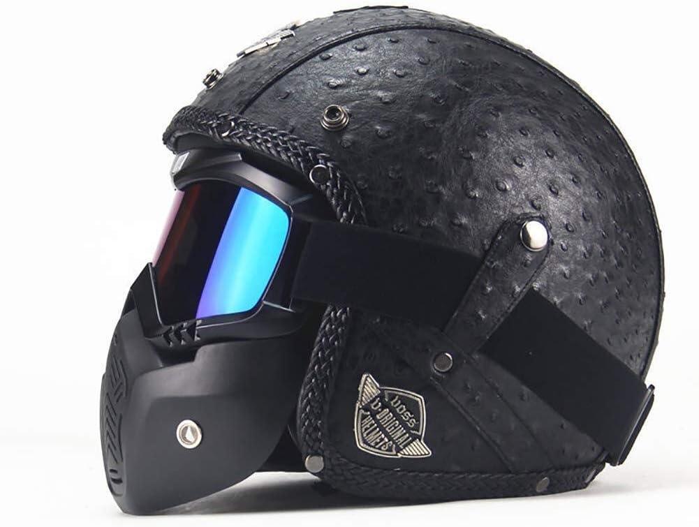 Handgefertigter Vorhauthalbhelm Herren Und Damen Motorradhelm Color : A, Size : M Retro Helm XDBY Motorradhelm 3//4 Lederhelm