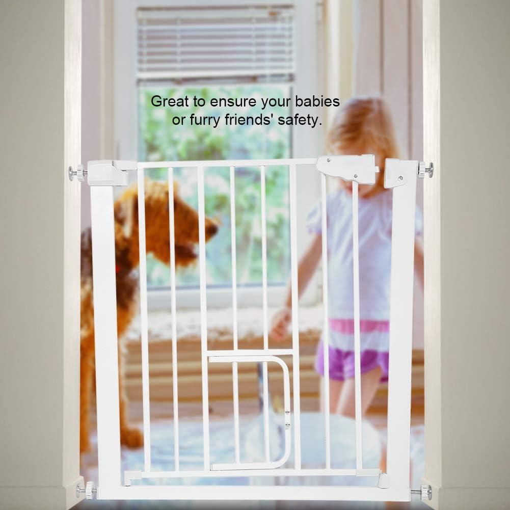 con Extensi/ón de 7cm Barrera Met/álica de Seguridad Valla Ajustable Puerta de Seguridad para Beb/és y Perros con Puerta de Perro