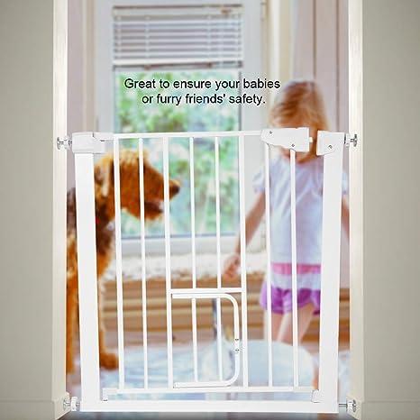 Barrera Metálica de Seguridad Valla Ajustable Puerta de Seguridad para Bebés y Perros con Puerta de Perro (con Extensión de 7cm): Amazon.es: Bebé