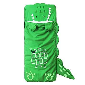 DINGANG® Grandes Dibujos Animados los niños Los niños y Las niñas Bolsa de Saco de Dormir, Dormir con Almohada, 140 cm * 60 cm Verde Verde: Amazon.es: Hogar