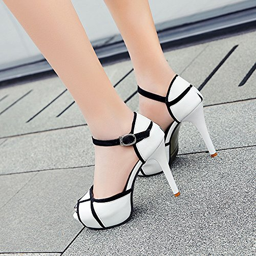 Summer High Strap Sexy Shoes Platform Toe Peep Heels Ankle Women's Stiletto White Gaorui Sandals SBwP6q