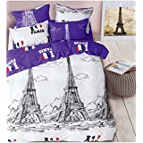 Luxury Bedding Collection 3D Prints Super Soft Skin-friendly Cotton City shtyle 4 Piece Bed Sheet Set Polyeshter Duvet Cover Flat Sheets Pillowcases Twin Full Queen , 1 , full