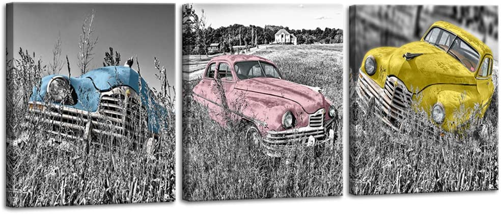 DekHome 3 Piece Colorful Vintage Car Picture Black and White Artwork Rustic Country Style Canvas Wall Art Modern Giclee Print Gallery Wrap Home Decor Ready to Hang 16x20Inchx3pcs