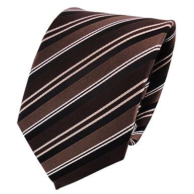 222af1f6229eb Cravate soie marron foncé brun chocolat blanc noir rayé – Cravate Soie
