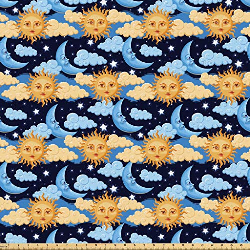 Lunarable Sun and Moon Fabric by The Yard, Colorful Night Sky Filled with Stars and Clouds with Mythical Celestial Bodies, Microfiber Fabric for Arts and Crafts Textiles & Decor, 1 Yard, Multicolor from Lunarable