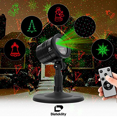 Christmas Decorative Projector Laser Lights - Diateklity (2017 New Design) Outdoor and Indoor Laser Light for Christmas, Party, House and Garden Decorations, IP65 Waterproof With RF Wireless Remote
