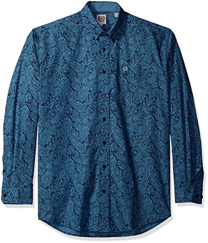 Cinch Men's Classic Fit Long Sleeve Button One Open Pocket Print Shirt, Blue Paisley, Large