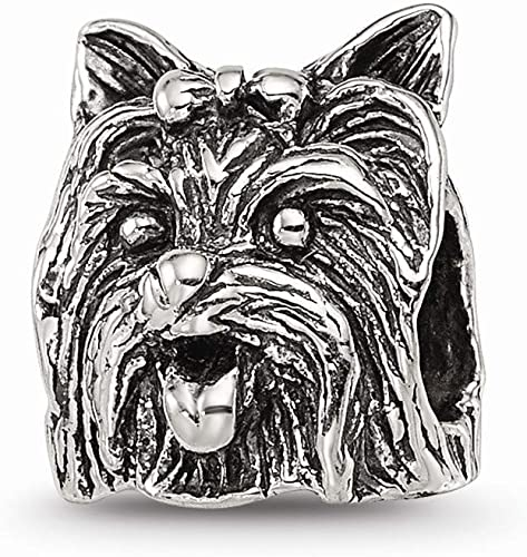 925 Sterling Silver Charm Bracelet Yorkshire Terrier Head Bead Animal Fine