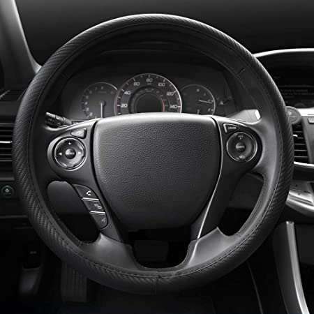 Silver Chrome BDK UltraSport Steering Wheel Cover Perforated Microfiber Leather with Carbon Fiber Detail /& Contrast Stitching