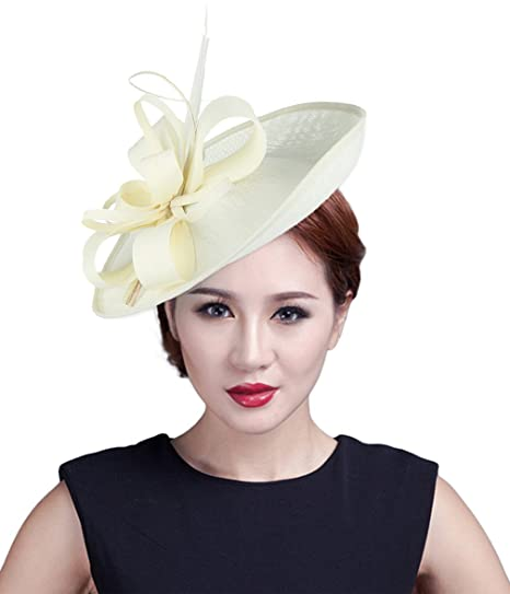 64d501799b1 Gemvie Women Sinamay Fascinator Pillbox Hat Wedding Party Cocktail Race  Beige