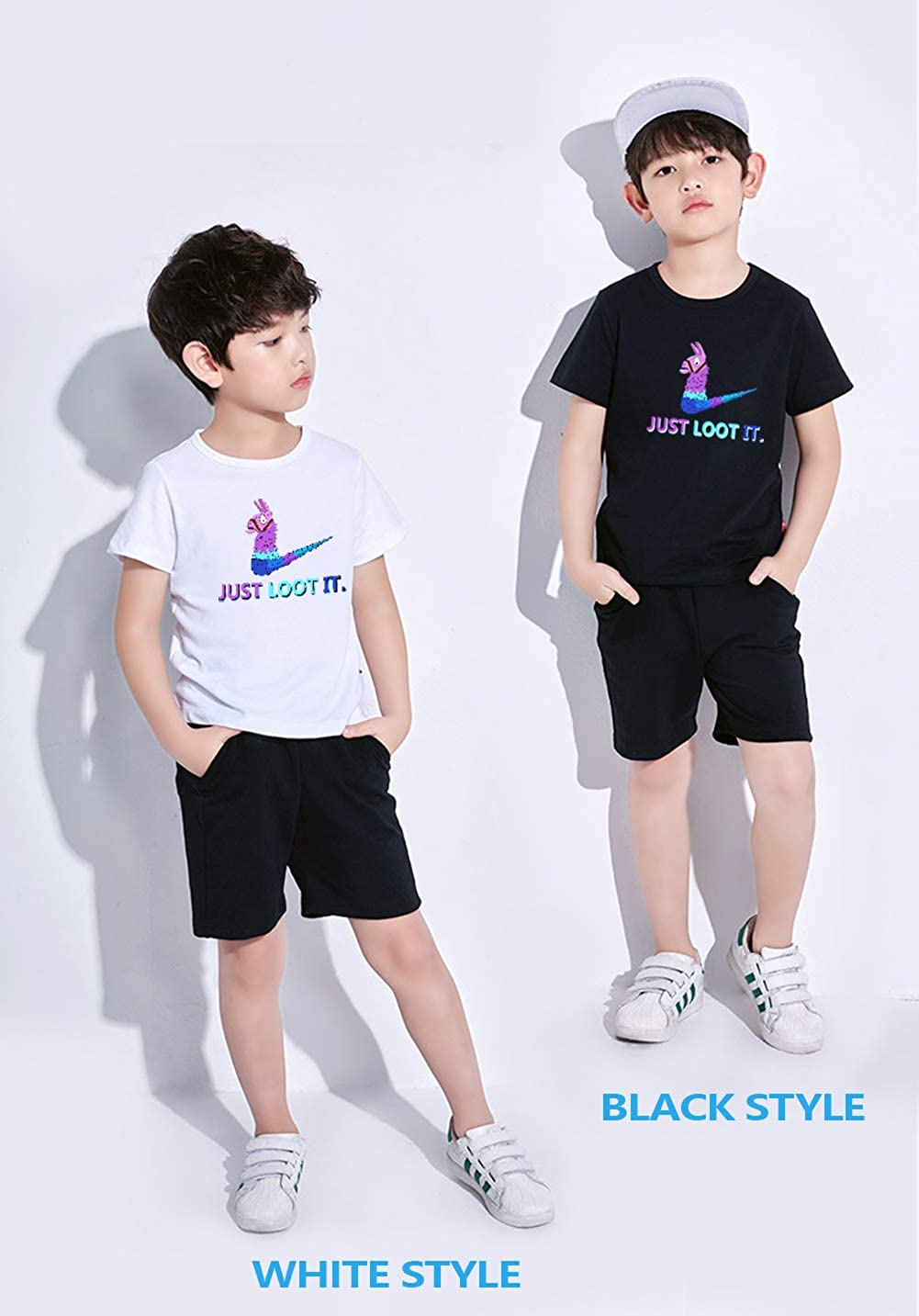Columbia River Trading Just Loot It T-Shirt Loose Fit Short Sleeve Tee Llama for Youth Teen Gamers