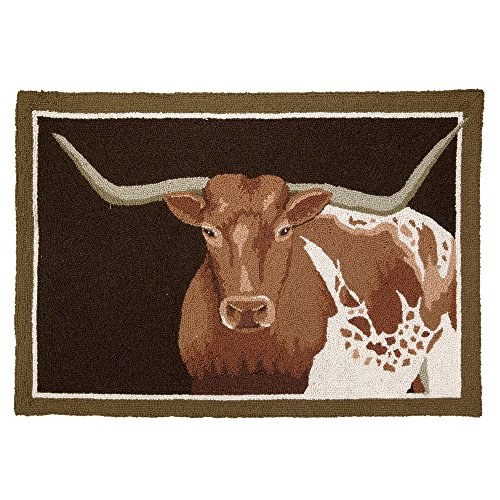 Black Forest Decor Longhorn Steer Hooked Western Rug - Rustic Decor