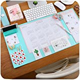 Mirstan Large Size Mouse Pad Anti-slip Desk Mouse Mat Waterproof Desk Protector Mat with Phone Stand, Note Pad, Pockets, Dividing Rule, Calendar and Pen Holder(Various Colors) (Blue)