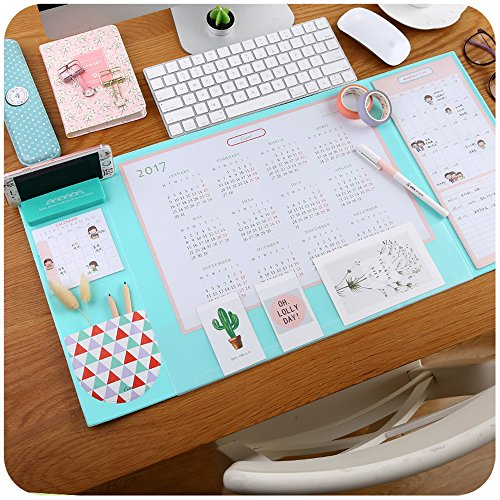 Mirstan Large Size Mouse Pad Anti-slip Desk Mouse Mat Waterproof Desk Protector Mat with Phone Stand, Note Pad, Pockets, Dividing Rule, Calendar and Pen Holder(Various Colors) (Blue) by Mirstan