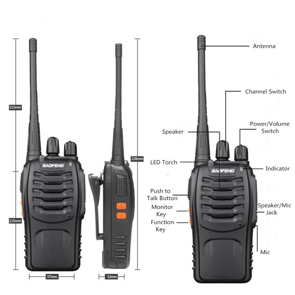 Baofeng Walkie Talkie Bf 888s Two Way Radios Built In Switch With Indicator Led Torch For Camping Hiking Hunting Travelling Communication Talkies 2pcs Pack