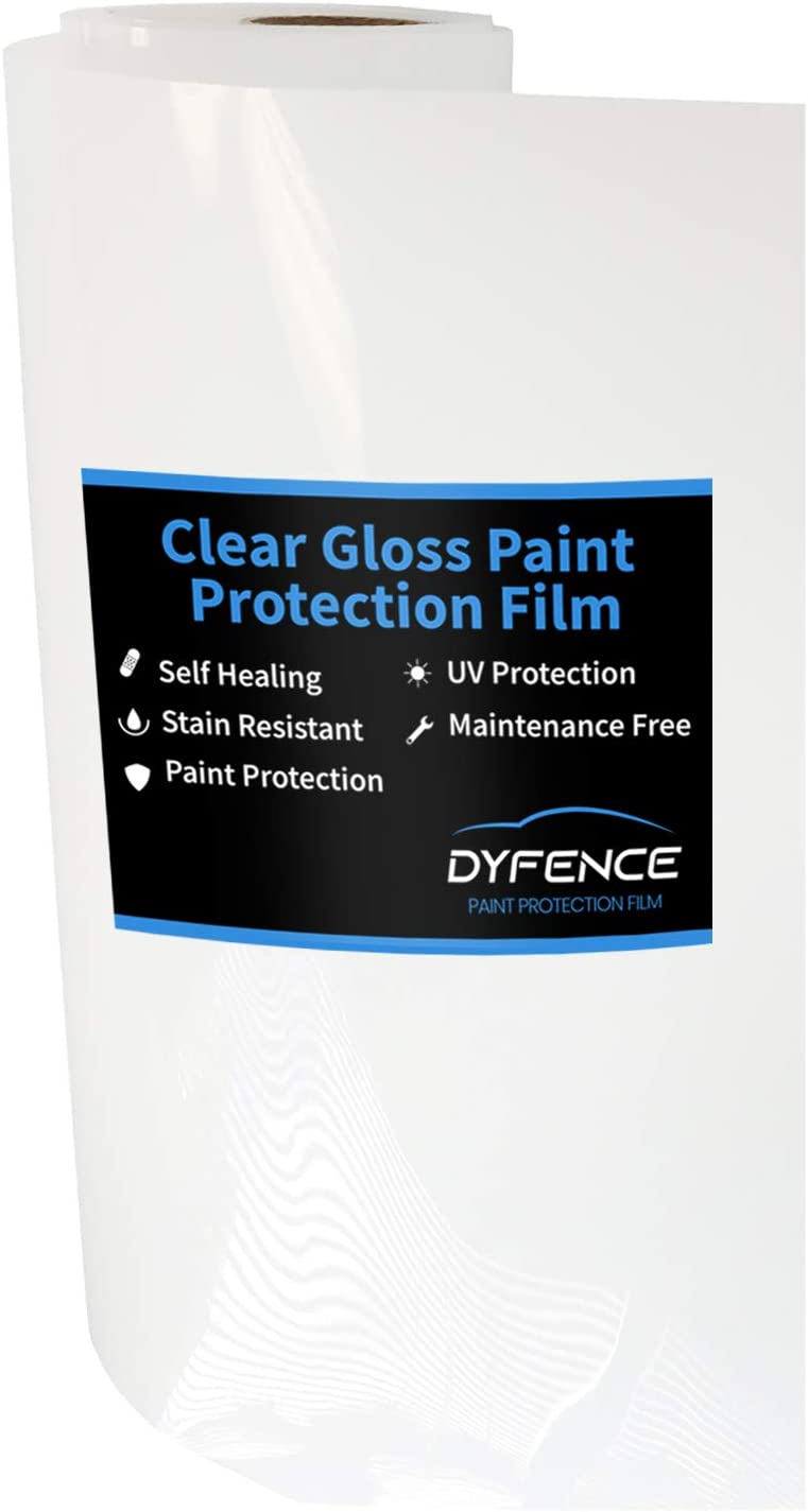 Clear Gloss 12 Inches x 59 Inches Dyfence Clear Paint Protection Film Self-Healing Automotive PPF Car Body Pre Cut Protection Wrap