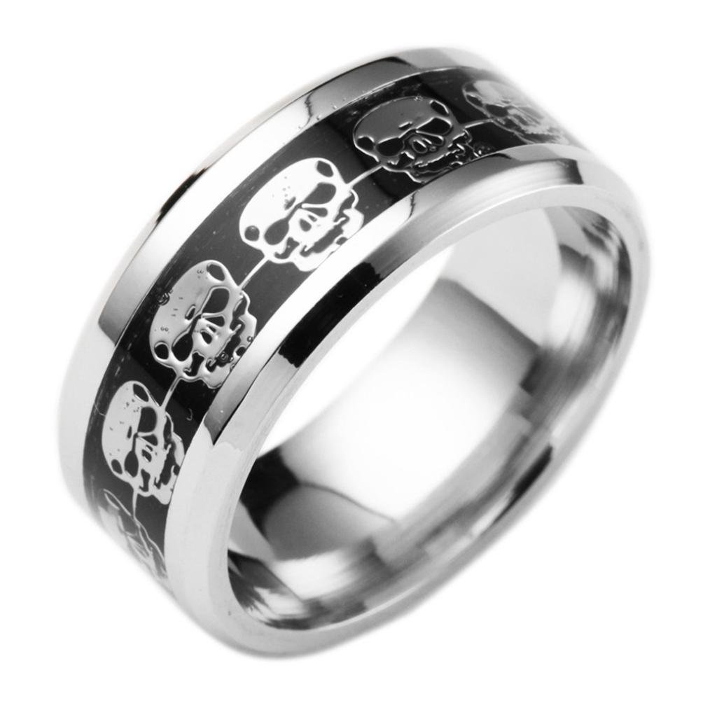Rings, Men&Women's Stainless Steel Punk Style Jewelry Halloween Skull Hip Hop Band Rings Jewelry (10, Silver)